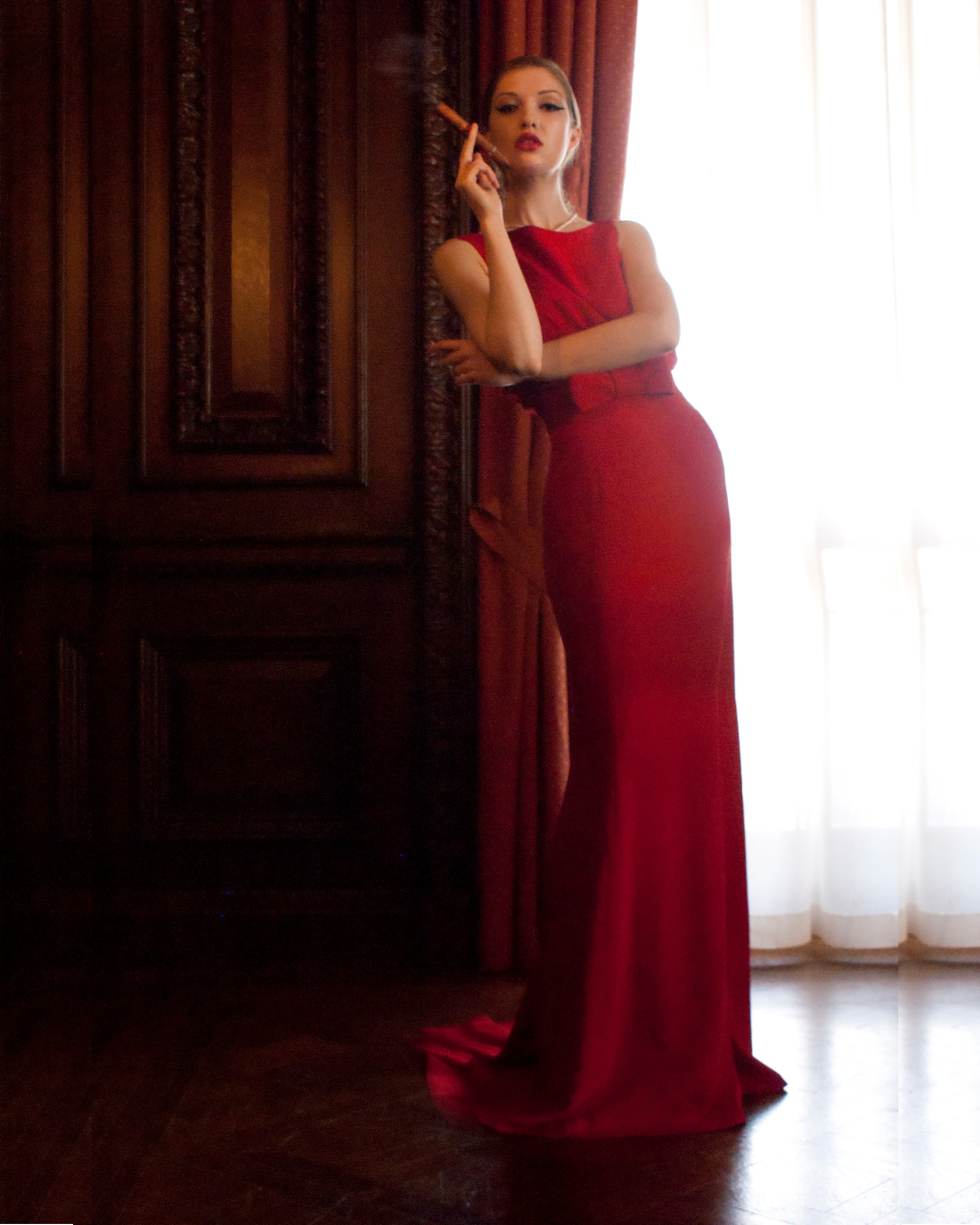 red long length gown, e-cigs, case loma, photography, toronto, red
