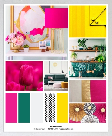 Mood board, hot pink, forrest greens, sunny yellows