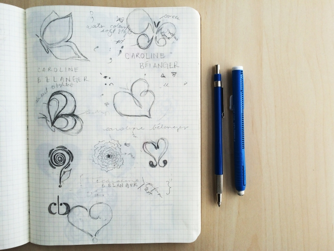 Hand sketches of Caroline's logo designs, butterflies, punctuations, sketches