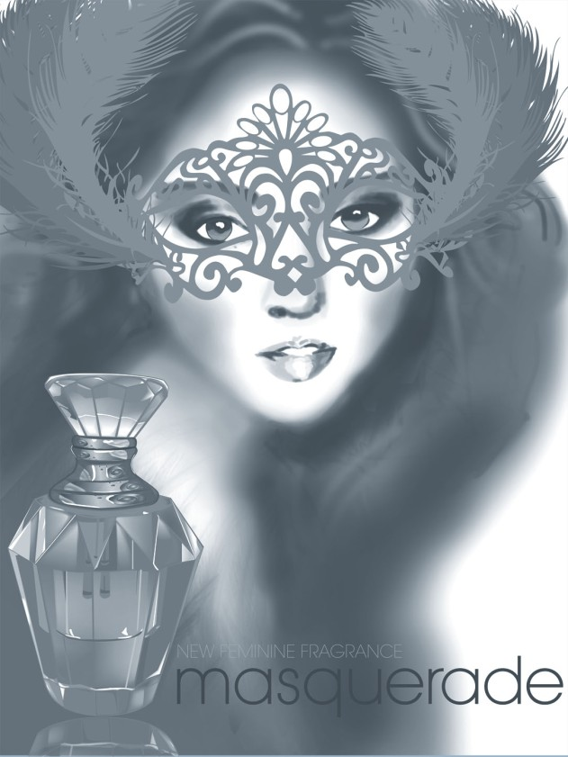 Digital illustration of female in a glass for perfume ad
