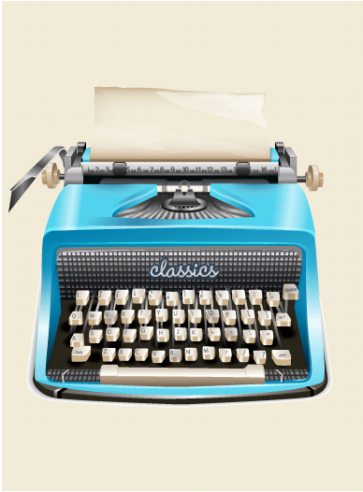 Graphic illustration of a classic typewriter in aqua