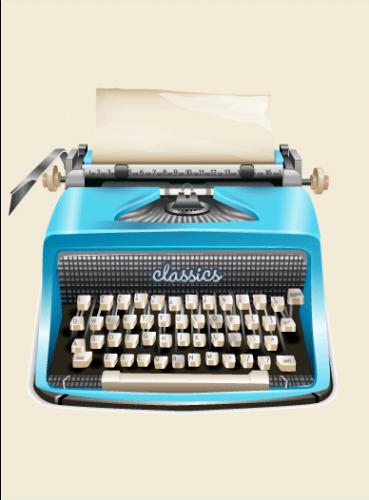 Graphic illustration of a classic typewriter in aqua
