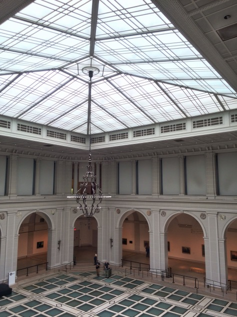 two storey tall open space third floor of the brooklyn museum