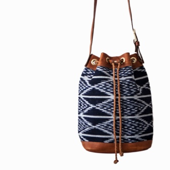 Upcycled leather trims with indigo cotton textile bag
