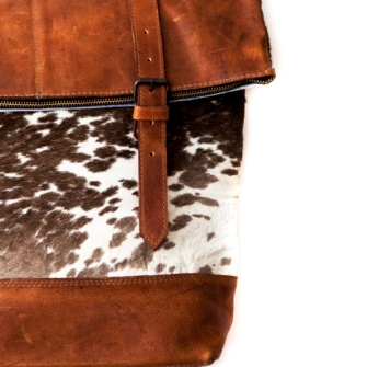 Upcyled cows leather turned into a back pack