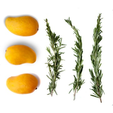 3 mangos lined up with 3 rosemary