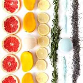 grapefruit, manage, lemons, rosemary and lavender all lined up like a rainbow