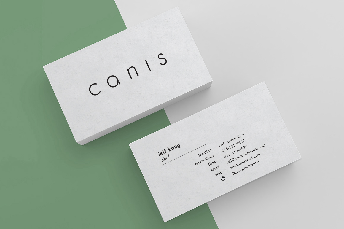 canis restaurant business card mock ups