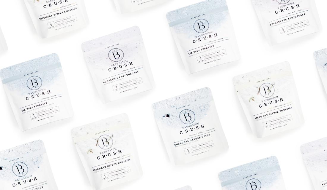 Bathorium's new product, C·R·U·S·H, 1 bath soak packaging