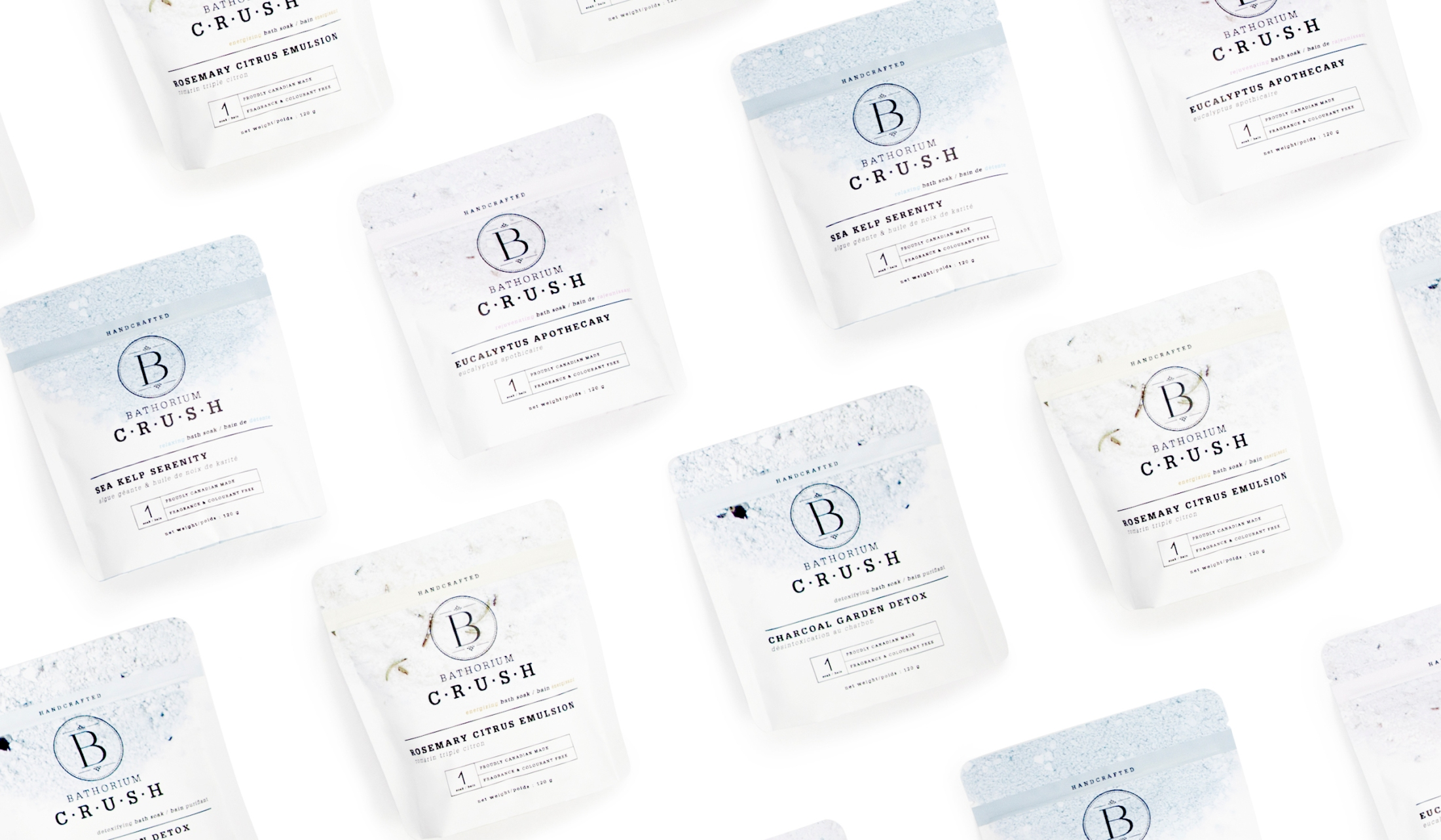 Bathorium's new product, C·R·U·S·H, 1 bath soak packaging