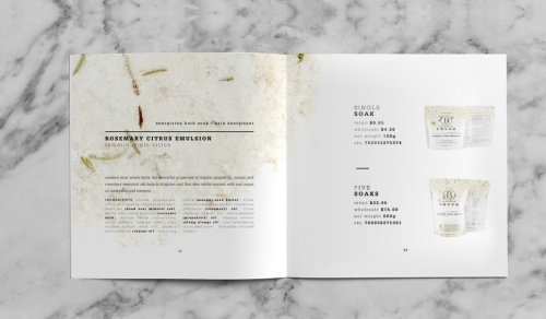 Rosemary Citrus Emlusion Page of the bathorium's CRUSH product book.