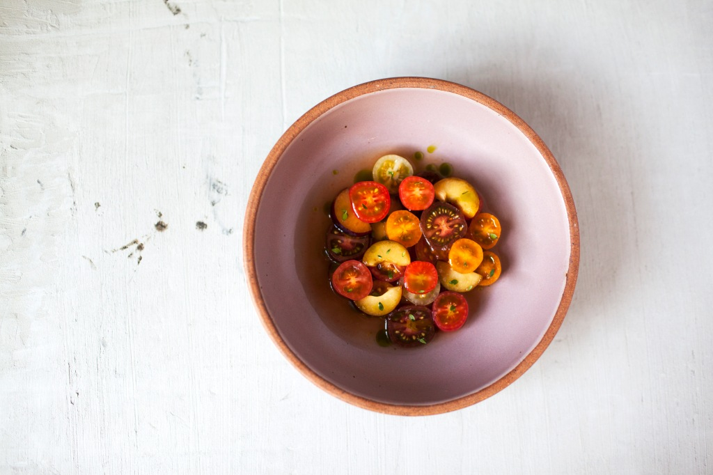 Heirloom Tomatos in warm broth