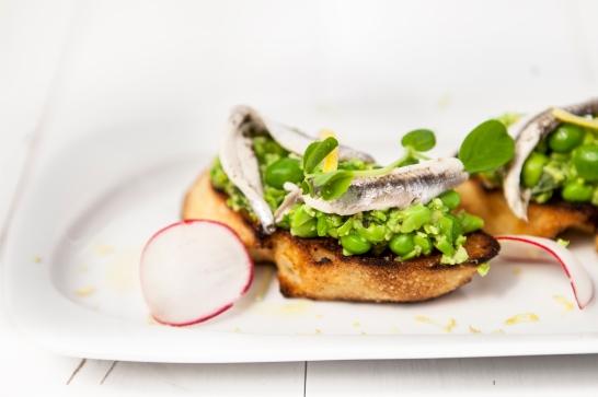 Bymark - peas on crustrinis - summer patio menu