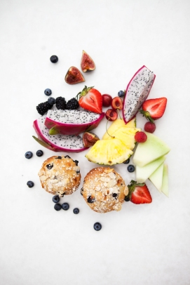 Blueberry muffin with dragon fruits, blueberry and strawberries