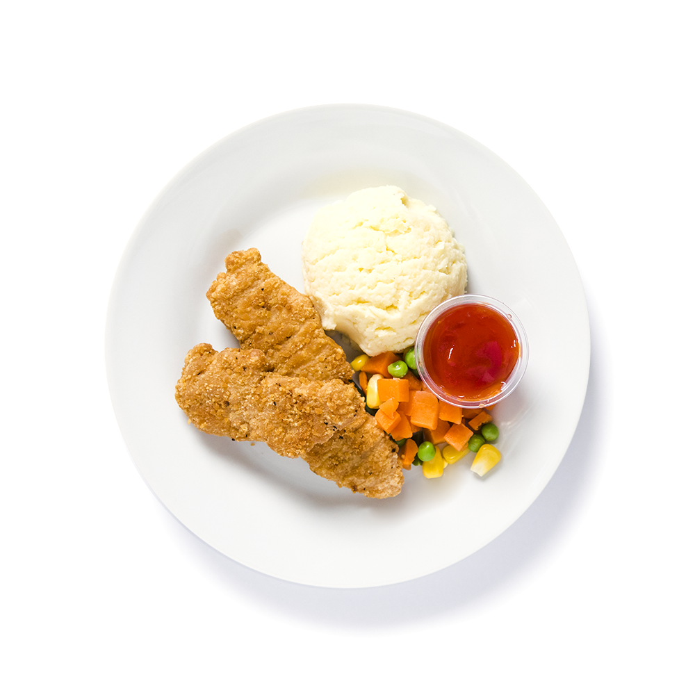 Chicken finger with mash potato, carrots and peas