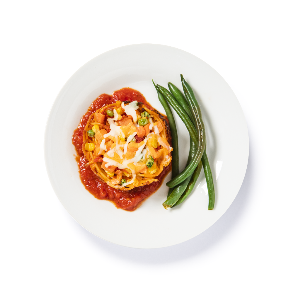 Spaghetti Puck with green beans